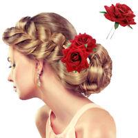 Mode Damen Haarnadeln für Braut Hochzeit Rose Blume Haare Stifte Rot