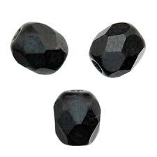 25 Perles Facettes cristal de boheme 6mm  JET NOIR