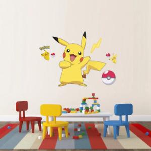 Pokemon Pikachu Wall Stickers Home Decor Living Room Art Mural UK Seller