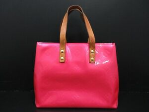 Auth LOUIS VUITTON Vernis Lead PM M91221 Hand Bag Pink Patent Leather 96221