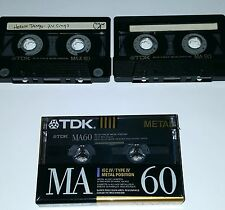 3 METAL TAPE CASSETTE SEALED TDK MA-X 60 MIN Bias Audiophile Recording boombox