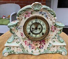 Antique 1881 Ansonia Victorian Porcelain Open Escapement Mantel Clock