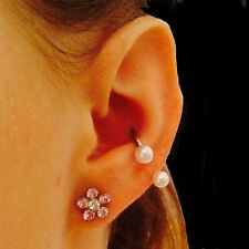 """STERILIZED 14g 5/8"""" Surgical Steel CONCH Horseshoe w 6mm Faux PEARL Ball."""