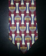 2014t NIB New Maroon Blue White Yellow Gray COMO COLLEZIONE Geometric Silk Tie!