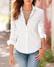 Womens Cotton Long Sleeve Business OL Lady T-Shirt Top Button Down Blouse Shirt