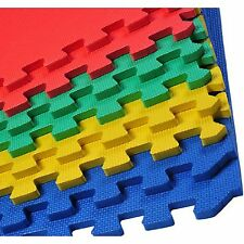 SOFT FOAM INTERLOCKING EVA MATS FLOOR 60 X 60 CM MIXCOLOUR / BLACK YOGA GARAGE