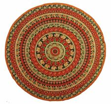 "Round Table Cloth ""Elephant Peacock Mandala"" Green/Brn - 81"" dia - FREE SHIPPING"