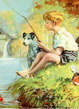 """Original Vintage 1940's Children's Litho """"Just Fishing"""" By Hy Hintermeister"""