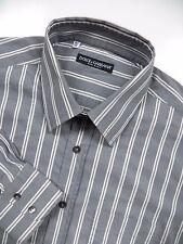 DOLCE & GABBANA MENS 16.5 LARGE 34 DRESS SHIRT GREY WHITE STRIPE STRETCH ITALY