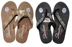 SKECHERS Womens Flip Flop Black Tan Size 7 8 9 10 Sunny Memory Meditation Sandal