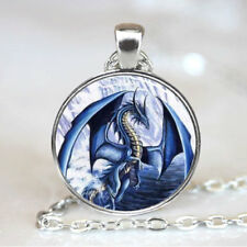 Blue Dragon pendant Photo Tibet silver  Cabochon glass pendant chain Necklace