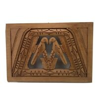 Vintage Hand Carved Wooden Decorative Plaque Arawaks French Guyana Folk Art
