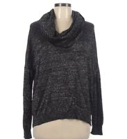 Joie Knit Cowl Neck Sweater Large Black Silver Sparkle