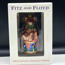 FITZ AND FLOYD GLASS CHRISTMAS ORNAMENT teddy bear drum drummer boy nib box xmas