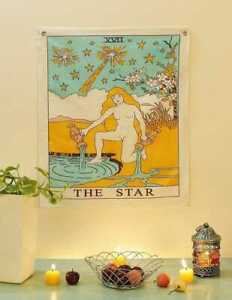 """Tarot Card """"THE STAR"""" Tapestry Hanging 100% Cotton Fabric Wall Decoration"""