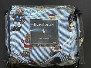 BLUE *RALPH Lauren *KING Bed Skirt POLO BEAR Bed Stripe WASHED ONCE! New