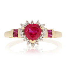 1.08ctw Heart Cut Synthetic Ruby Ring - 10k Gold w/ Diamond Accent Halo-Inspired