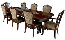 Cathedral Cherry 9 Piece Vintage Victorian Dining Set Table & 8 Chairs