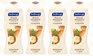 4 Softsoap Moisturizing Body Wash Shea Butter and Almond Oil BIGGER SIZE 20 OZ