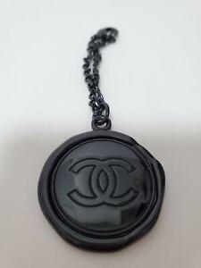 CHANEL Bag Charm Black Key Ring Chain logo (NIB)