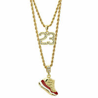 "14K Gold Plated Hip Hop ""Cherry"" & Cz 23 Pendant 3mm 24"" & 4mm 30"" Rope Chain"