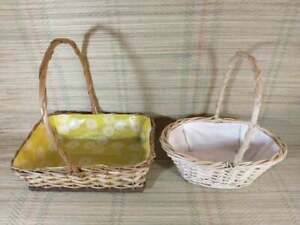 Pair of Plastic Lined Wicker Baskets With Handles - Plants / Flowers