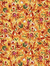 Fabric African Indian Sunset Flowers Pandora on Cotton 1/4 Yard
