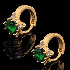 `10K Yellow Gold Filled GF CZ Emerald Hoop Earrings Earings, 10mm ID 12mm Wide