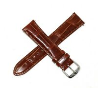 Jacques Lemans 21MM Genuine Alligator Leather Watch Strap Band CARAMEL BROWN