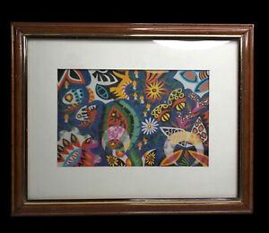 Vintage Kennedy Bahia lithograph wood frame Brazilian Artist (dead) Exclusive