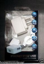NIP - BYTECH iPhone iPod Wall Plug USB Sync RETRACTABLE Home Charger *FREE SHIP