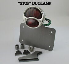 Motorcycle License Plate Holder Polished STOP Model A DUOLAMAP Tail Light Bobber