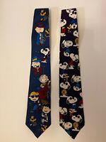 RARE Peanuts Snoopy Joe Cool And Charlie Brown Silk Vintage Necktie Tie Lot
