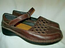 Brown Leather/Square Laser Cuts NAOT Mary Jane Flats 42/11