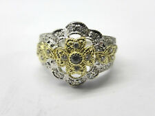 LADIES 14CT TWO-TONE GOLD DIAMOND LEAF FLOWER STYLE RING SIZE L