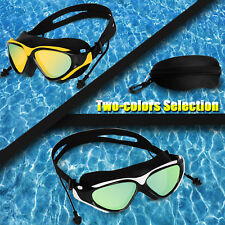 Mirror Swimming Goggles Ear Plug Swim Glasses UV Protection Anti-Fog Adult Lense