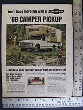 1968 68 Chevrolet Chevy Pickup Truck Camper ¾ Ton Print Ad Advertisement