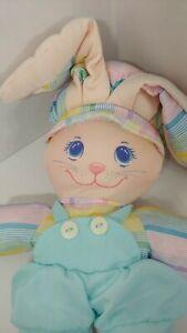 vintage fabric plush pink bunny rabbit blue overall shorts ears shirt hat stripe