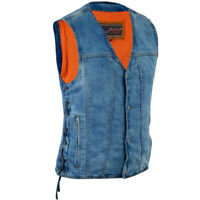 Denim Material Motorcycle Vest Concealed Snap Closure Bike Daniel Smart DM989BU
