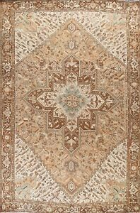Vintage Heriz Hand-knotted Traditional Area Rug Wool Oriental Large Carpet 10x13