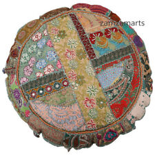 """32"""" Indian Handmade Round Floor Pillow Case Vintage Grey Patchwork Cushion Cover"""