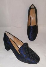 Banana Republic 6.5 Embroidered Block Heel Slip On Shoes Blue Black Animal Print