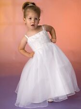 GIRLS BEADED FLOWERGIRL DRESS, SIZES 2,4,6,8,WHITE or IVORY, NEW, PETTICOAT,Aust
