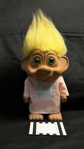 VINTAGE TROLL DOLL YELLOW HAIR 8 TALL UNIQUE HUG OLD MARKET PLAY KID CHILD 1992