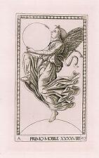 """Marvelous MANTEGNA 1800s Tarocchi Engraving """"Primum Mobile"""" DURAND Original COA"""