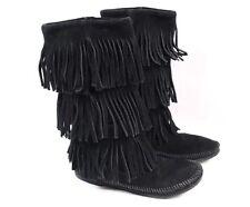 MINNETONKA Moccasin 1639 Black Leather 3 Layer Fringe Mid Calf Boots Women 6