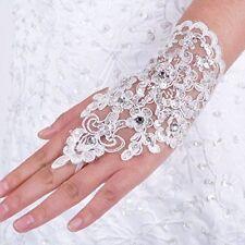 New Ivory Short Lace Fingerless Rhinestone Bridal Gloves Ivory