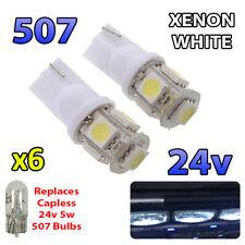6 x White 24v Capless Hella Spot Light 507 W5W 5 SMD T10 Wedge Bulbs HGV Truck