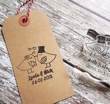 "WEDDING STAMP, PERSONALISED BESPOKE INITIALS & DATE 2"" or 50mm heart love birds"