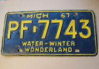 1967 Michigan Car License Plate Kalamazoo County PF-7743 Yellow/Blue Wonderland
